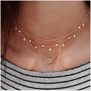 """The Northern Star"" Boho Layered Diamond Necklace"
